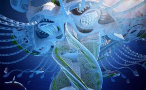 Vincent Callebaut Architectures Paris; AEQUOREA Oceanscraper (2015); Printed in 3D from the Seventh Continent's Garbage; Rio De Janeiro, Brazil